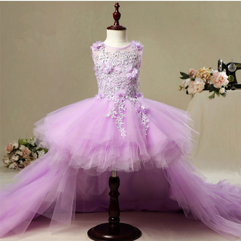 Image 5 - Fancy Flower Girl Dress with Train 2019 Children Show Performance Costume Kids Long Mermaid Tulle Pink Gowns Boutique Clothes-in Dresses from Mother & Kids