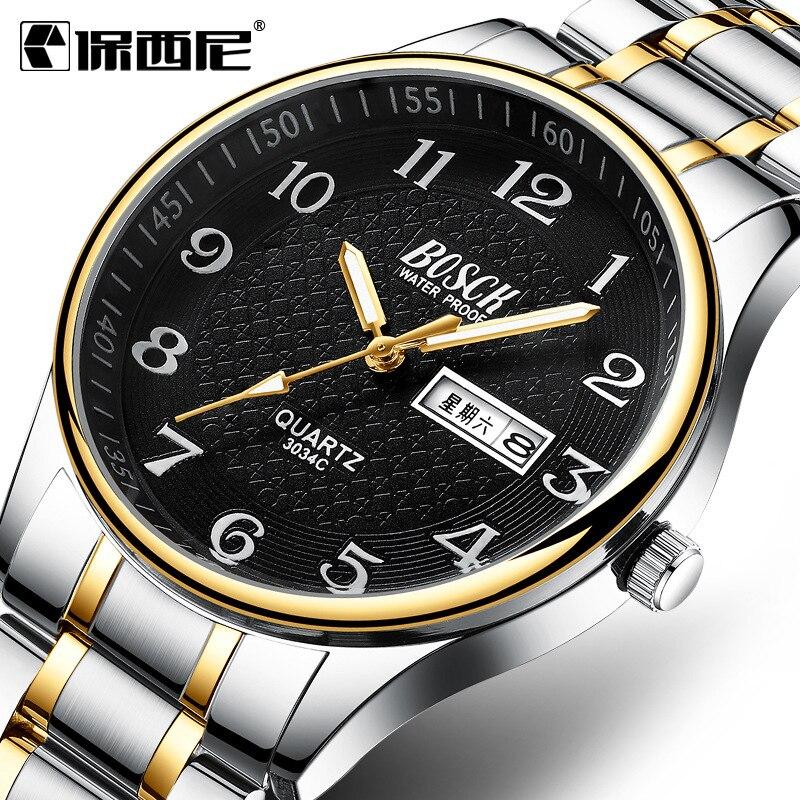 BOSCK 2019 New Hot Week Calendar Men's Watches Business Classic Waterproof Luminous Number Quartz Wrist Watches And Clocks
