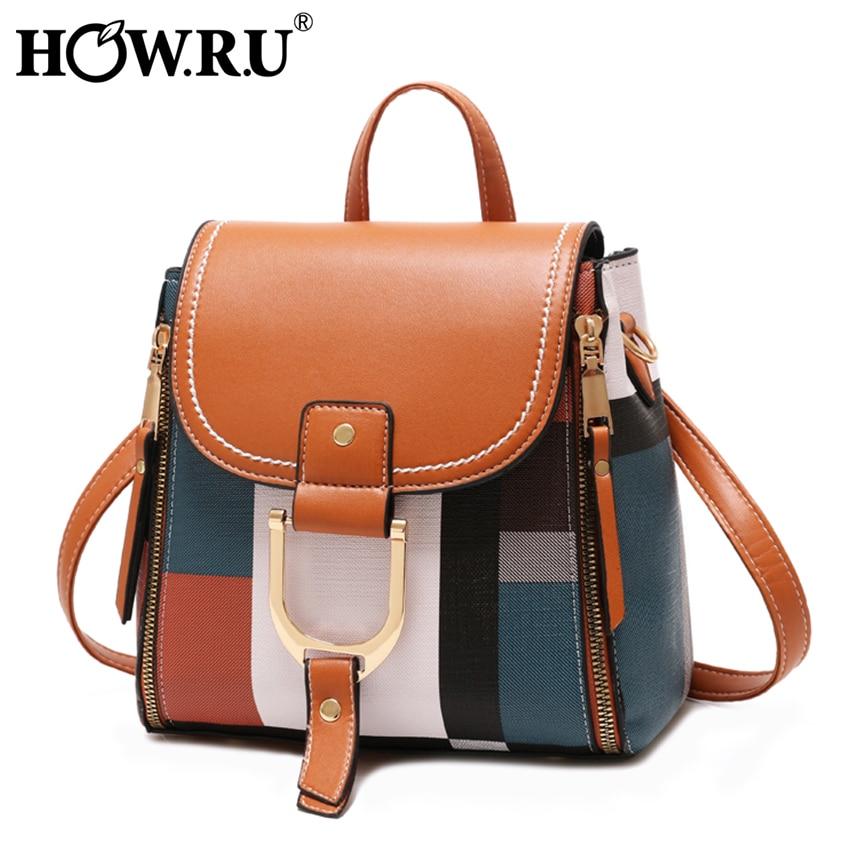 HOW R U England Plaid Fashion Pu Leather Women Mini Backpack Teenage Girls Small School Bags