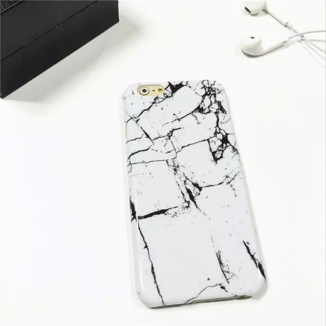 2017 hot black white marble texture case for apple iphone 5 5s 6 6s plus 7 7plus hard plastic phone back cover capa para fundas in fitted cases from