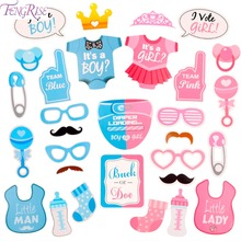 FENGRISE Blue Its A Boy Pink Photo Booth Props Girl New Born Baby Shower Photobooth Photocall Gender Reveal Party Supplies