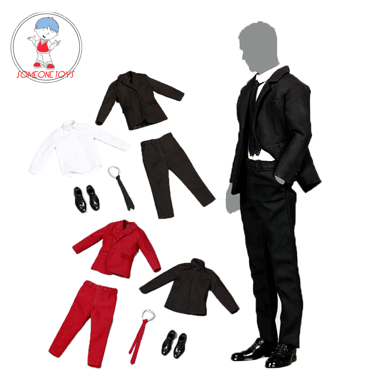 3 Colors 1/6 Scale Western Suit Leather Shoes Set 12 inches Male Action Figure Clothes Standard Slim Trouser Clothes Suit-in Action & Toy Figures from Toys & Hobbies    1