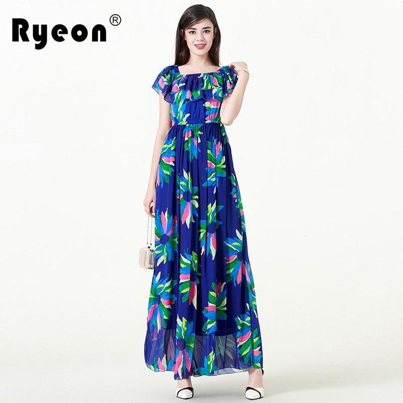 af5f07feca7 Ryeon Plus Size Elegant Beach Dress Square Collar Short Ruffles Sleeve  Chiffon Flolar Printed Women Maxi Dress Vestidos 6xl 5xl-in Dresses from  Women s ...