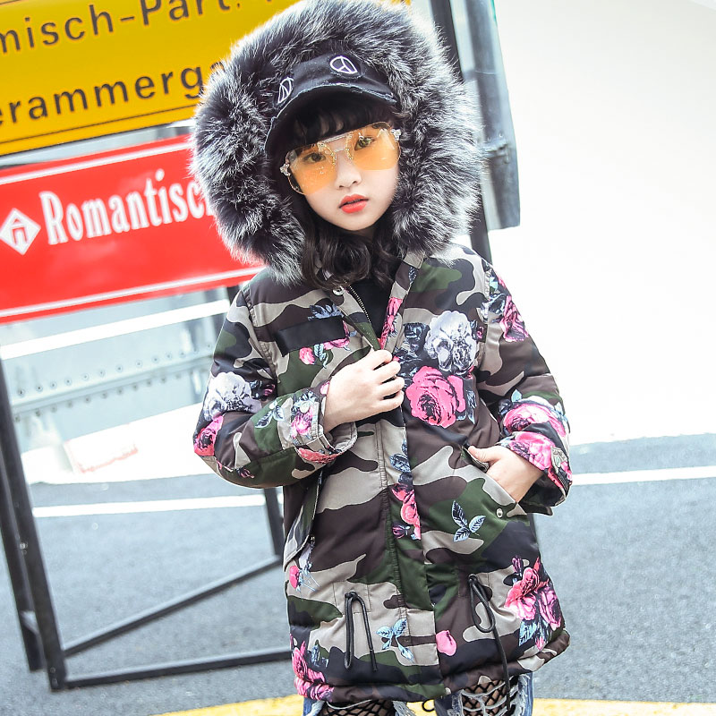 New Fashion Children Winter Jacket Flower Camouflage Girl Winter Coat Kids Warm Thick Fur Collar Hooded Long Down Coats 3T-12T 2017 winter women jacket down new fashion long sleeve hooded thick warm short coat slim big yards female autumn parkas ladies242