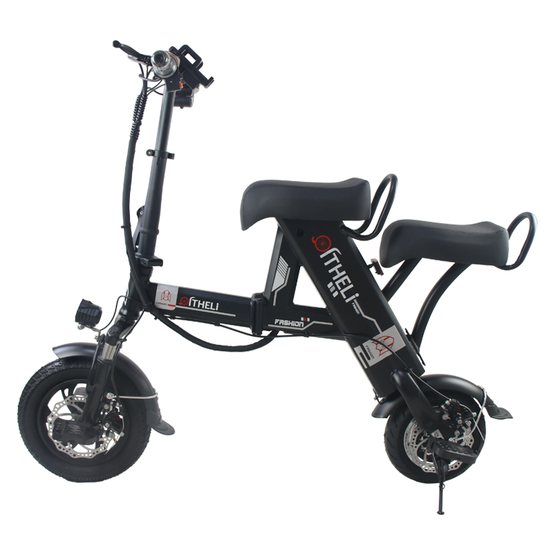 Flash Deal folding electric bike parent-child electric bicycle 12inch 2 people Folding portable ebike lithium battery electric bicycle 0
