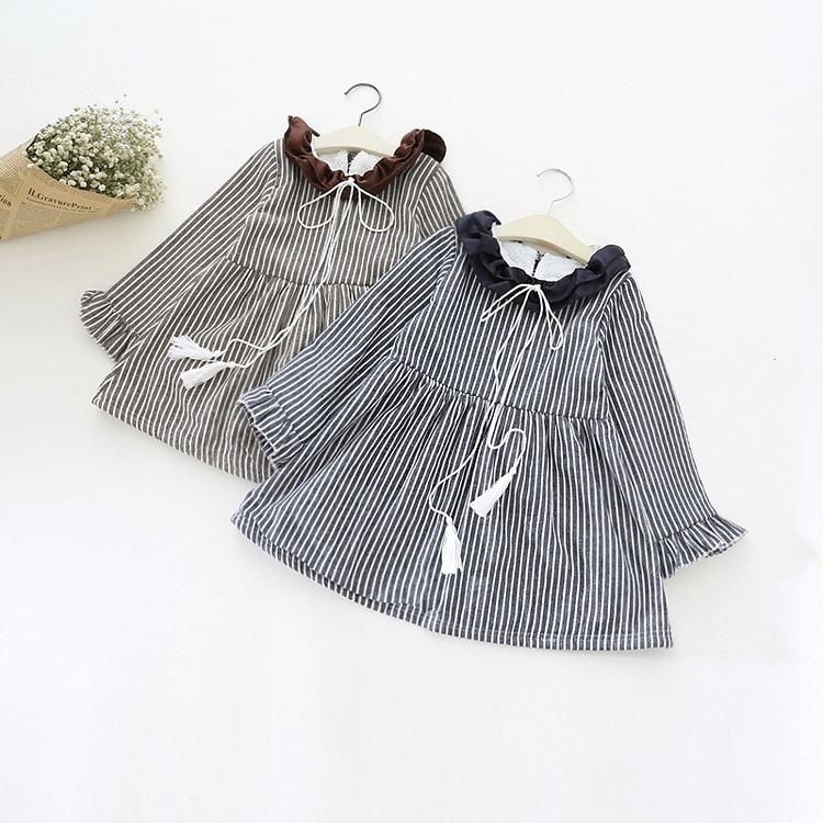 Kids Girls Winter Striped Princess Dresses Ruffles Collar Children's Clothing Baby Plus Velvet Long Sleeve costume