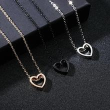 Hollow Out  Love Heart Couple Metal Necklace For Femme Best Birthday Gift Necklaces & Pendants Women Men Lovers Jewelry Dropship