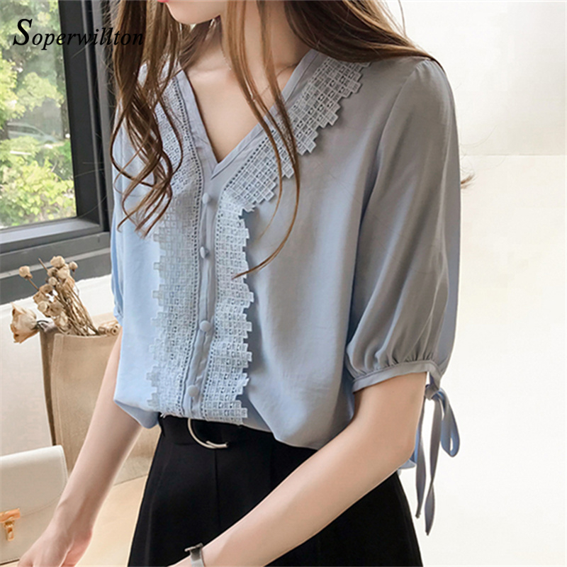 Summer Casual Chiffon Blouses Wome Sexy Shirts feminina Blouse with Lace 2018 Office work Half Sleeve Blusas Female 3XL 4XL #E5