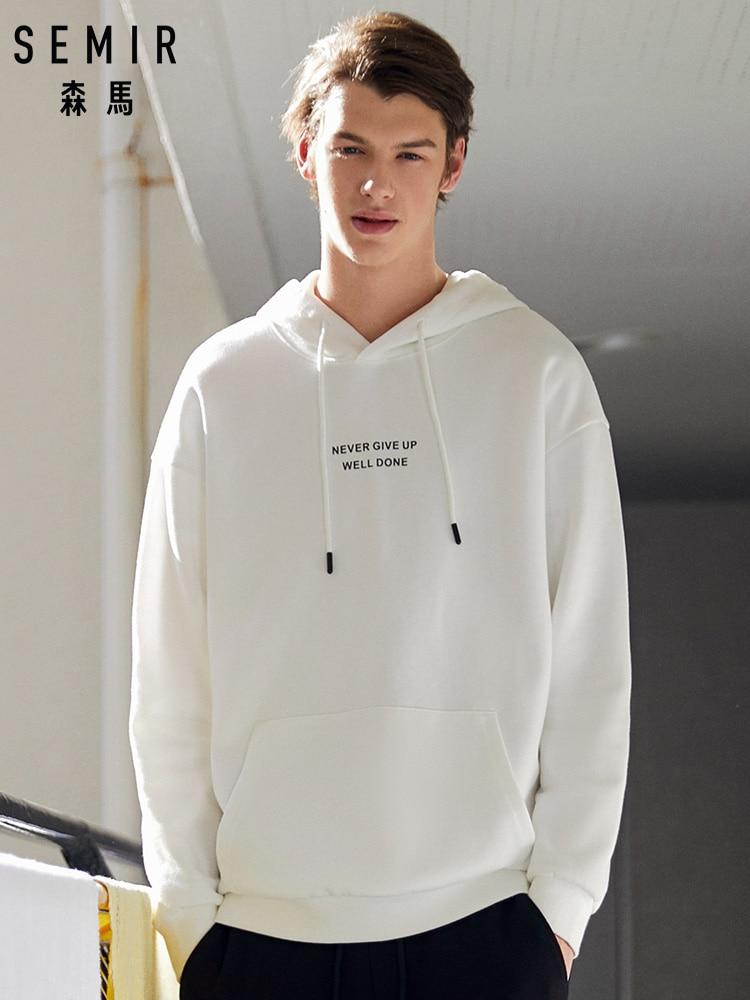 SEMIR Men Printed Hooded Sweatshirt Men's Pullover Hoodie With Kangaroo Pocket Sweatshirt With Lined Drawstring Hood Fashion