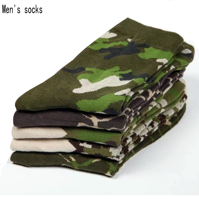 5 pairs men socks  2017 NEW Spring army soldiers style cotton mens socks dress socks high quality Camouflage socks for men