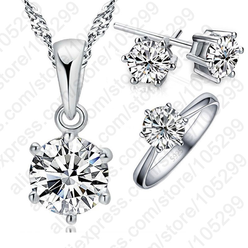Woman's Birthday Gift Wedding Jewelry Set Fashion 925 Sterling Silver Crystal Necklace Ring Earring 3 pcs Free Shipping(China)