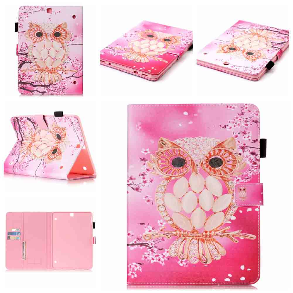 Tab S2 9.7 inch Book Case Pink Owl Pattern Folio Stand Tablet Case Cover for Samsung Galaxy Tab S2 9.7 SM-T810 SM-T815 Coque kid s box level 2 pupil s book
