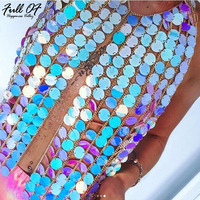 Luxury Women Crystal Mesh Top Womens Sequins Metal Chain Crop Tops 2018 Summer Sexy Plain Sparkly