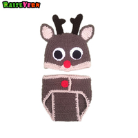 Christmas Clothes Suits Fawn Handmade Baby Boy Girl Hat Short Pant 2pcs Newborn Infant Crochet Knit