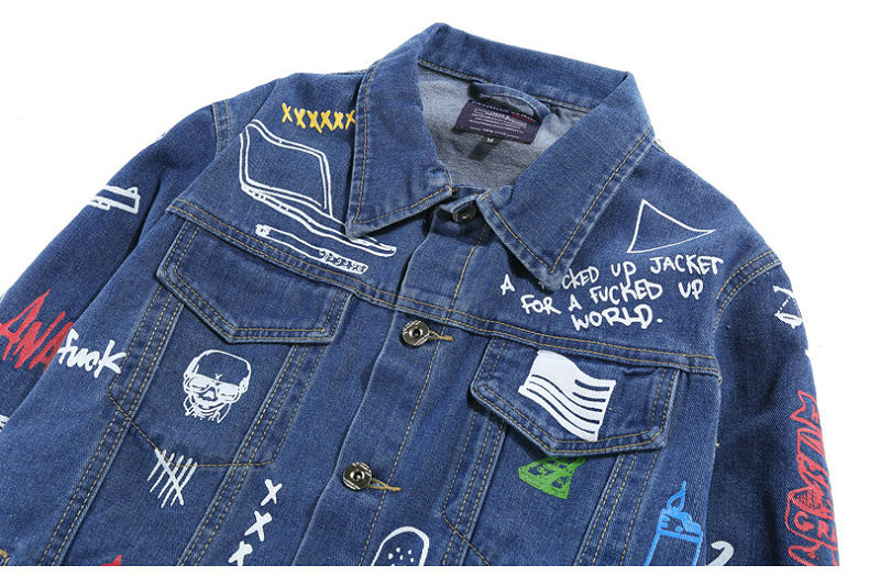 HTB1c6fDXjnuK1RkSmFPq6AuzFXaA Hip Hop Fashion Printed Jeans Jacket Men Cotton Casual Streetwear Autumn New Denim Jacket Coat For Men