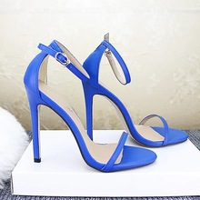 Plus Size Sandals Shoes Women Summer 2019 high heels blue Se