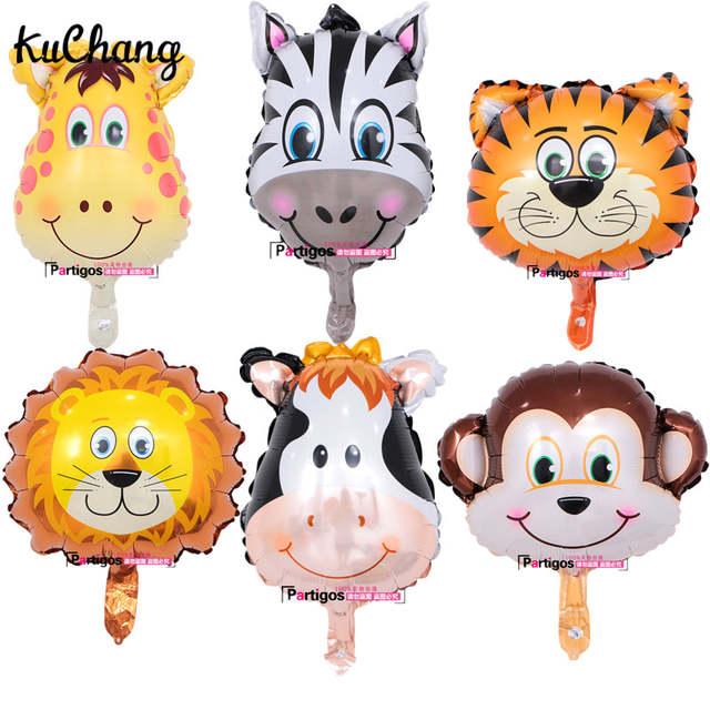 Image of: 10pcs Mini Cartoon Monkey Lion Tiger Giraffe Animals Head Foil Balloons Baby Shower Birthday Party Decor Aliexpress Online Shop 10pcs Mini Cartoon Monkey Lion Tiger Giraffe Animals