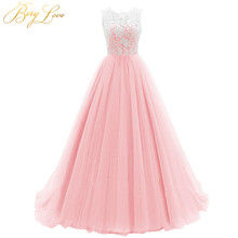 BeryLove Elegant Ball Gown Baby Pink Formal Evening Dress 2020 Tulle Lace Long Dress Dubai Evening Prom abito soiree Party Gown
