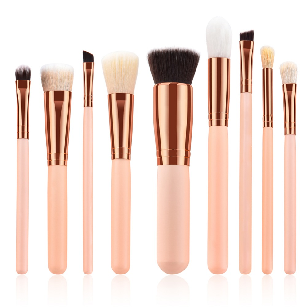 9Pcs Face Eye Makeup Brushes Set Professional Pro Concealer Flame Blending Eyebrow Eye Shadow Brush Rose Gold Make Up Brush Set