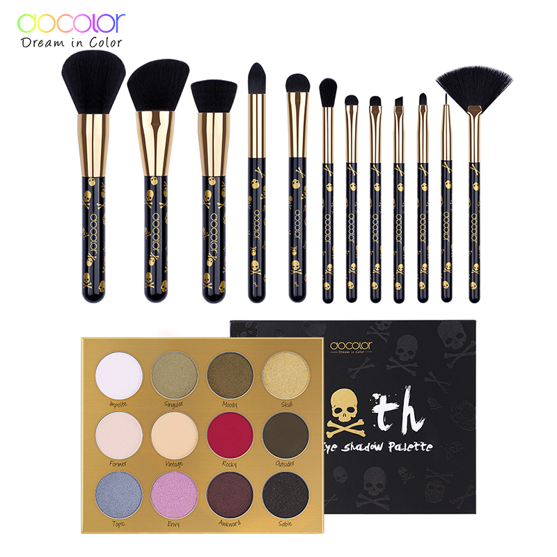 Docolor 12pcs Makeup Brushes with 12 Color Eyeshadow Palette Goth Make up set Beauty Essential Eye Shadow with Make up brushes