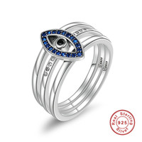 100 925 Sterling Silver Turkey Blue Eyes Faith Finger Rings For Women Wedding Engagement Jewelry