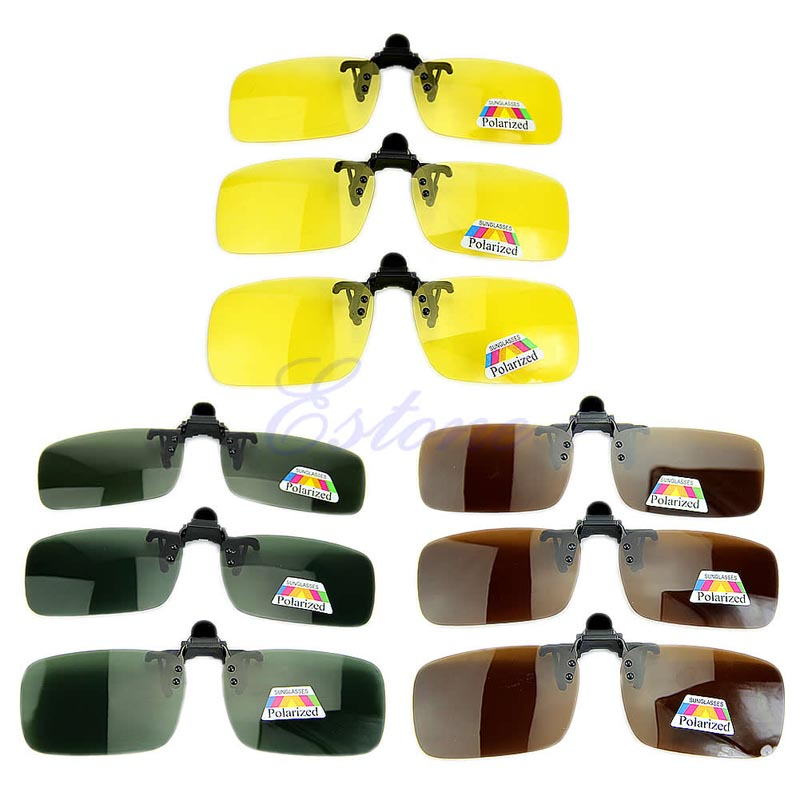 Polarized Day Night Vision Clip-on Flip-up Lens Sunglasses Driving Glasses image