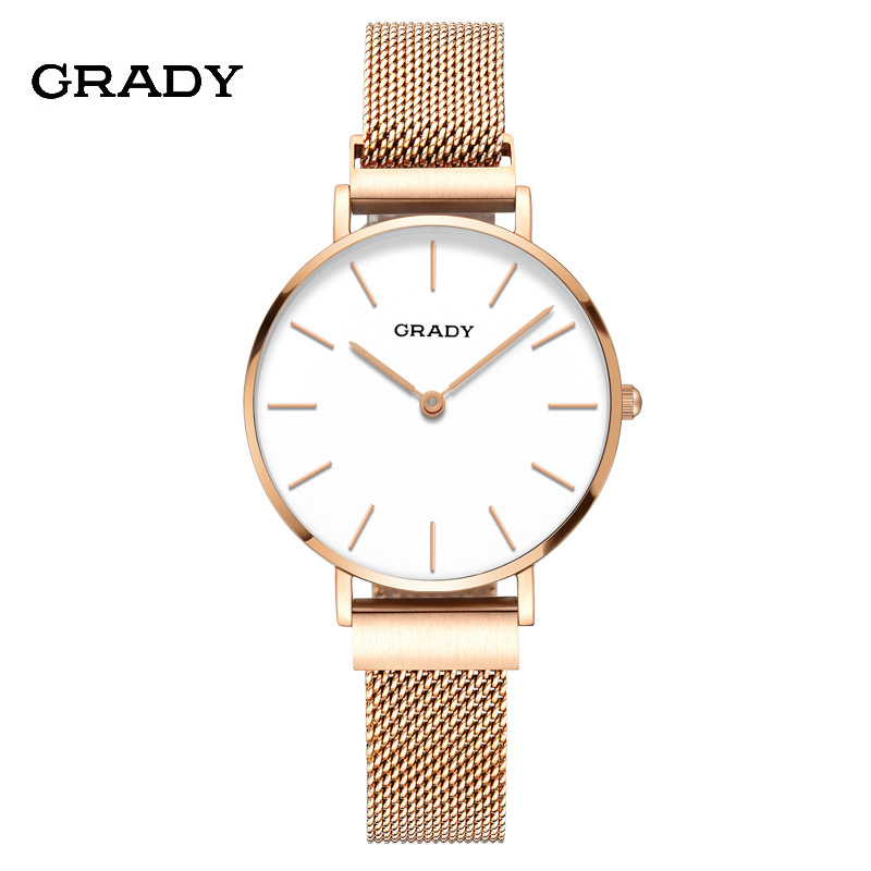 2018 Grady womens fashion top brand sapphire luxury sport gold watch waterproof  couple quartz watch Magnetic strap Free Ship