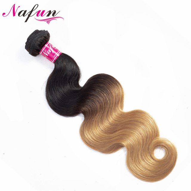 NAFUN Blonde Malaysia Body Wave Bundles Ombre Human Hair Weave Bundles Two Tone T1B/27 Hair Extensions Non Remy Hair 10-26 Inch