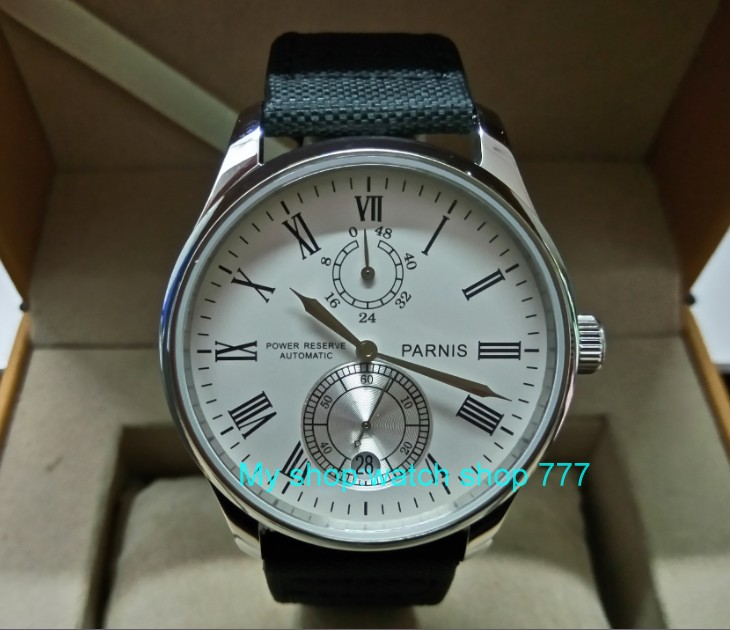 PARNIS 43mm white dial Automatic Self-Wind movement power reserve men's watch Mechanical watches wholesale 156a 40mm parnis white dial vintage automatic movement mens watch p25