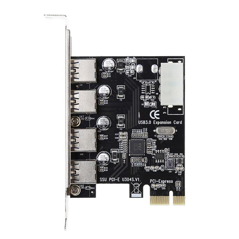 4 Port PCI-E zu USB 3.0 HUB PCI Express Expansion Karte Adapter 5 Gbps Geschwindigkeit