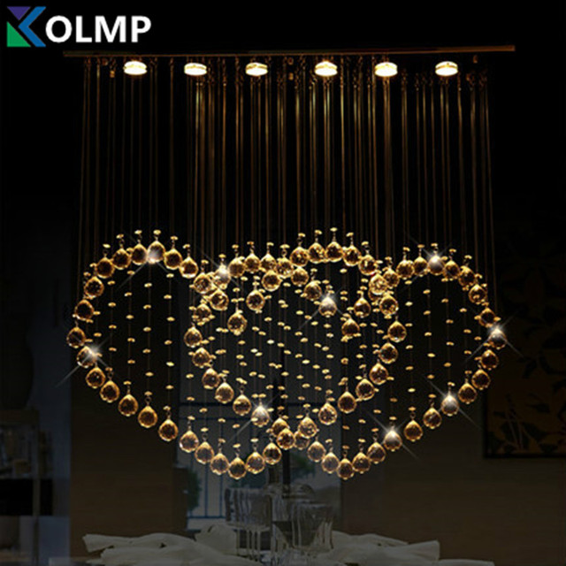 modern romantic crystal chandelier big heart shape hanging lamp luminarias para sala luxury. Black Bedroom Furniture Sets. Home Design Ideas