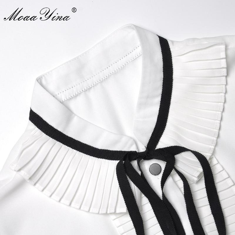 Ruché À Manches Costume Ceinture Fashiontwo Femmes Robe Moaayina Double Gilet Printemps Blanc pièces Boutonnage Été Élégant Ensemble Longues 8URqdRwtC