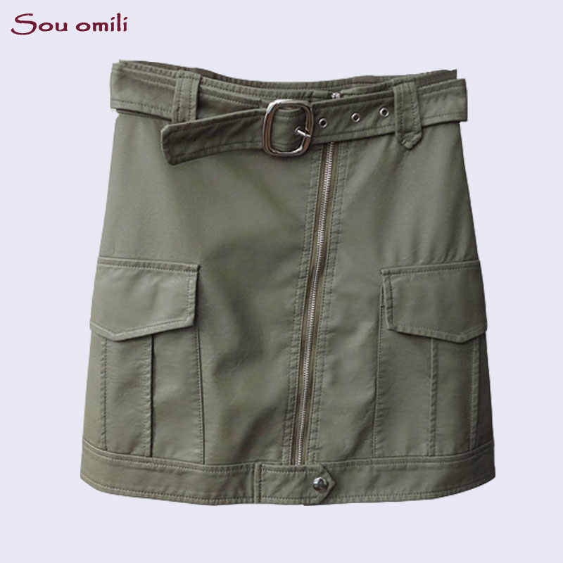 24b2e769015 New Army Green Faux Pu Leather Skirts Womens Big Pocket belt Skirts Black  Mini High Waist