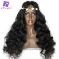 LUFFY Pre Plucked 250 Density Silk Base Lace Front Wigs Bleached Knots Non Remy Brazilian Human Hair Natural Wave Wig 12 24 Inch