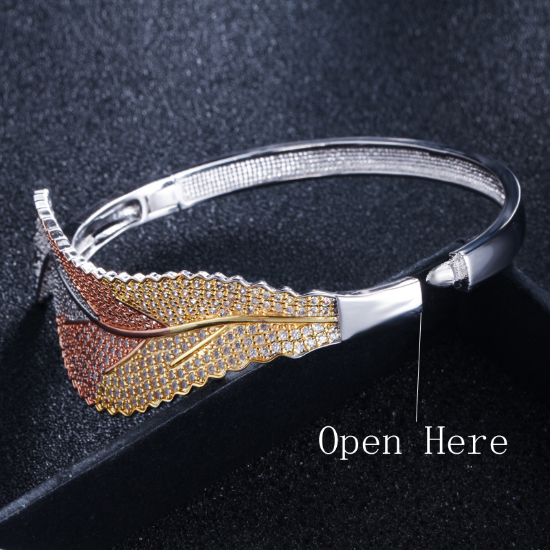 CWWZircons 3 Tones Silver and Rose Gold Color Leaf Shape Big Micro Pave Cubic Zirconia Luxury Open Cuff Bangle for Women BG016 HTB1c6g8XorrK1RkSne1q6ArVVXaD