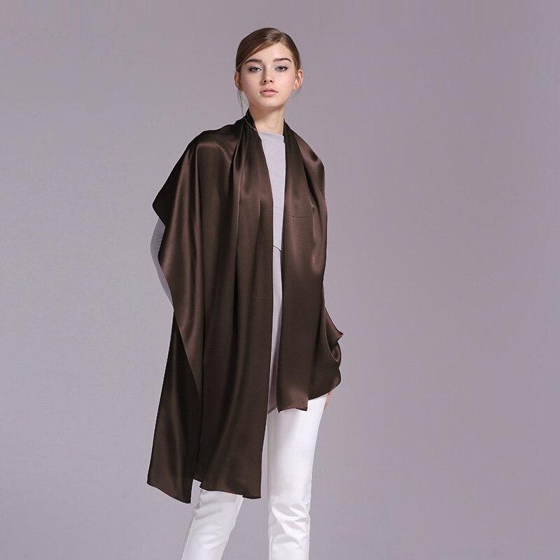 100% длинный шарф атласный шелк 55x180 см чистый шелк тутового Однотонные шелковый шарф фабрики интернет-магазине 41 темно-коричневый Цвет