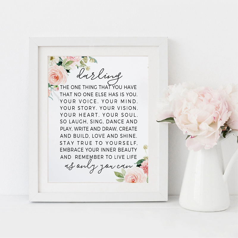 The One Thing That You Have ... Quote Darling Prints Nursery Poem Canvas Painting Wall Art Picture Poster Girl Room Art Decor image