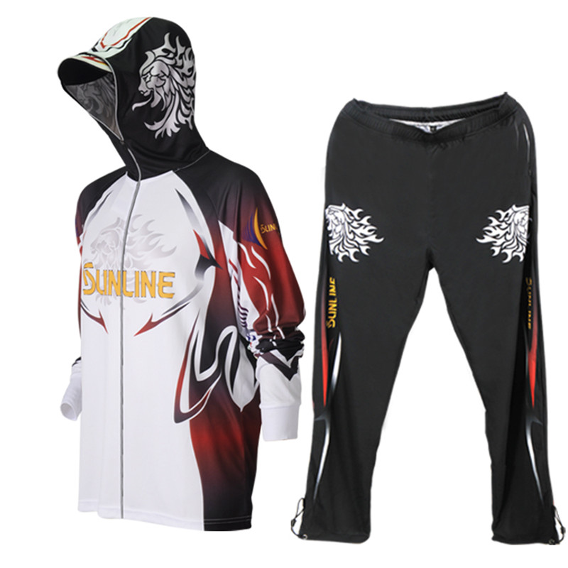 Japanese SUNLINE Cool Fishing Hoodie Breathable Quick-drying Men's Team Logo Print Match Fishing Jerseys Pants 2pcs
