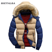 BSETHLRA 2017 New Parka Men Autumn Winter Jackets Men Coats Patchwork Hooded Thicken Cotton Veste Homme
