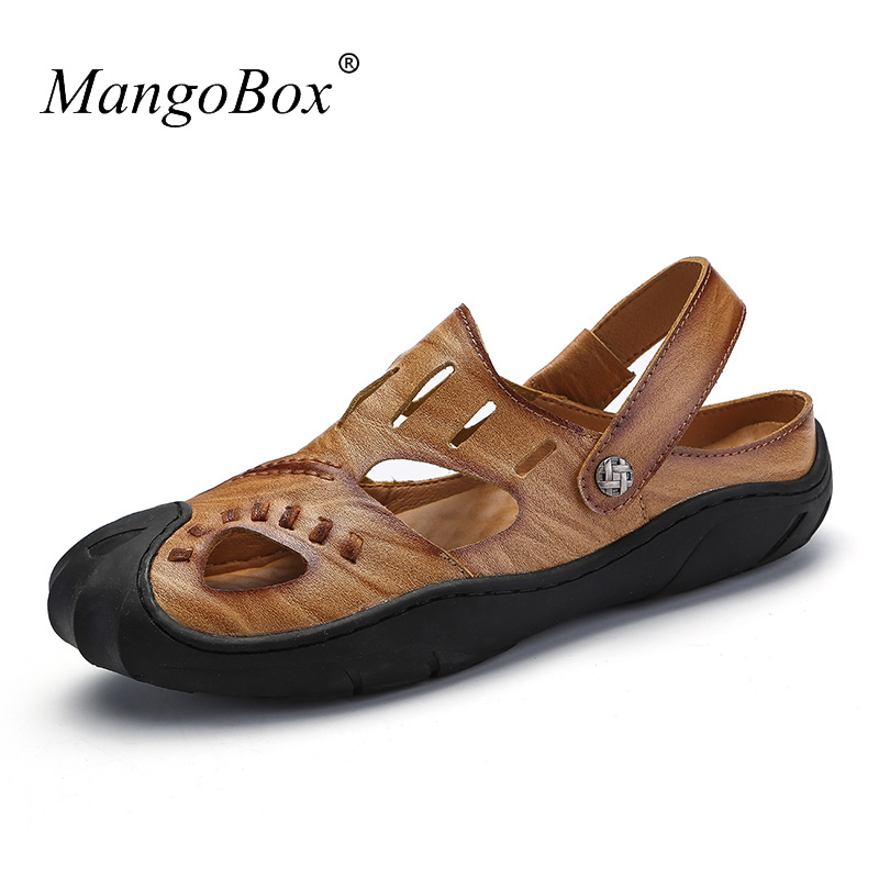 Mens Leather Sandals Summer Slippers Mens Shoes 2018 Casual Top Quality Hiking Sandals Men Brown Khaki Flat Sandals For Men