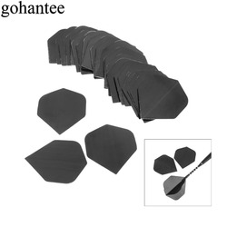 Gohantee 30 stücke von l Lot PVC Dart Flüge Fin Schwanz Hohe Qualität Einfache Reine Schwarz Darts Zubehör Austauschbare Dart flügel