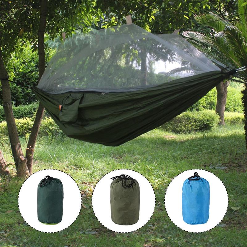Camping Hammock Tent Lightweight Portable Double Parachute Hammocks Mosquito Nets Nylon Hammock for Outdoor Hiking Backpacking lightweight hammock big hammock amaca camping