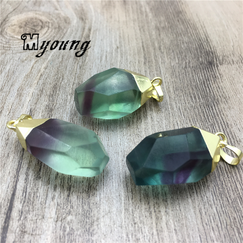 Faceted Teardrop Shape Fluorite Pendant Charm Green Crystal Quartz Druzy Necklace Making Charms with Gold Color