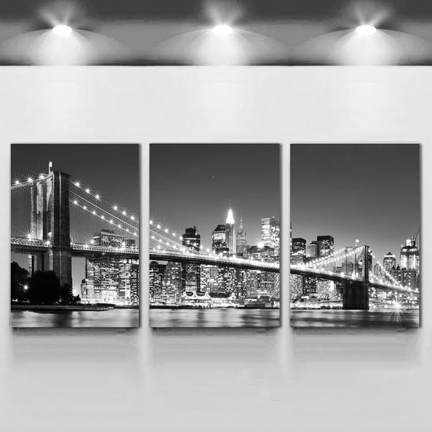 3 Sztuka Gorący Bubel Nowożytny ścienny obraz Nowy Jork Brooklyn mosta domu ślub Dekoracyjny Modularny obraz druk na płótnie żadny obramiający