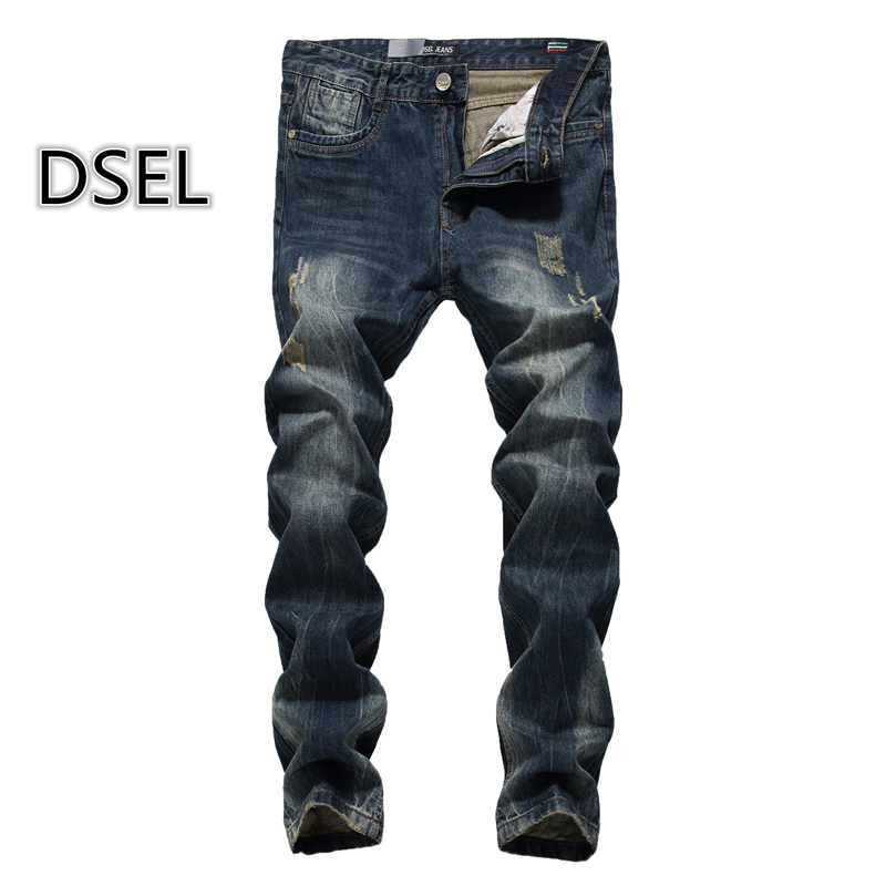 2017 Slim Fit Mens Jeans Pants Male High Quality Dsel Brand Jeans Ripped Men Classic Dark Denim Trousers Plus Size 29-40 E625 patch jeans ripped trousers male slim straight denim blue jeans men high quality famous brand men s jeans dsel plus size 5704