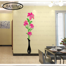 Crystal vase plum 3d stereo acrylic wall stickers living room sofa TV background entrance home accessories