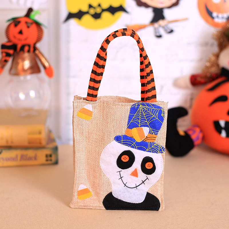 1pc linen Candy Bag Halloween Bags Trick or Treat with Decoration Sack Gift bag bone