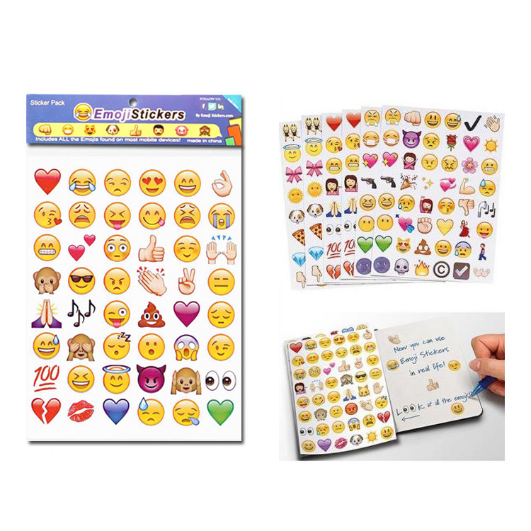 New 4 pieces Emoji expression sticker pegatinas instagram stickers scrapbooking adesivos autocollant affixed to the wall face
