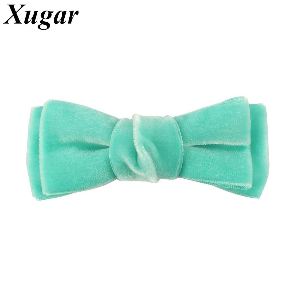 2 Pcs/Lot 3.5'' Handmade Solid Velvet Hair Bow For Girls Kids Boutique Bows Hairpins Cute Velvet Hair Accessories
