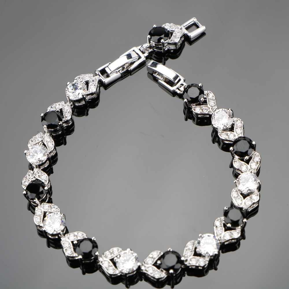 925 Sterling Silver 18+2 CM Ladies Round Black White Gems Bracelets Sliver 925 Jewelry For Women Free Gift Box